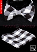 Tawni Haynes Black White Checkered Poly Poplin Bow Tie & Pocket Square