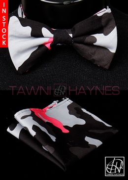 Tawni Haynes Camo Stretch Cotton Bow Tie & Pocket Square