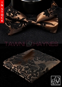 Tawni Haynes Brown w/ Black Damask Taffeta Bow Tie & Pocket Square