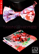 Tawni Haynes Floral Stretch Cotton Bow Tie & Pocket Square
