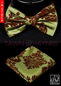 Tawni Haynes Green w/ Brown Damask Taffeta Bow Tie & Pocket Square