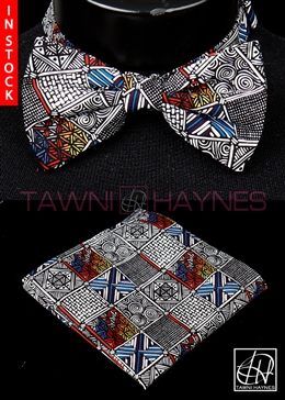 Tawni Haynes Geometric Motif Stretch Cotton Bow Tie & Pocket Square