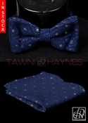 Tawni Haynes Navy Brocade Knit Bow Tie & Pocket Square