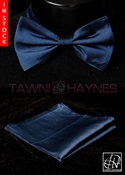 Tawni Haynes Navy Poly Dupioni Bow Tie & Pocket Square