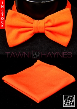 Tawni Haynes Orange Stretch Cotton Bow Tie & Pocket Square