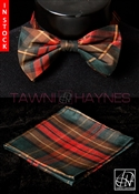 Tawni Haynes Plaid Poly Dupioni Bow Tie & Pocket Square