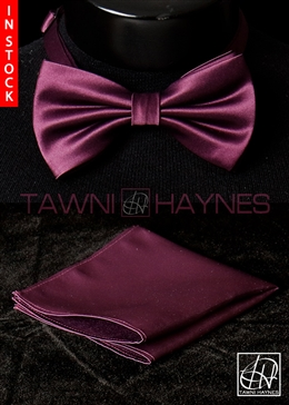 Tawni Haynes Purple Poly Satin Bow Tie & Pocket Square