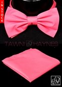 Tawni Haynes Pink Stretch Cotton Bow Tie & Pocket Square