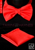 Tawni Haynes Red Stretch Cotton Bow Tie & Pocket Square
