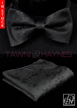 Tawni Haynes Black Shimmer Brocade Bow Tie & Pocket Square
