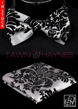 Tawni Haynes Silver w/ Black Damask Taffeta Bow Tie & Pocket Square