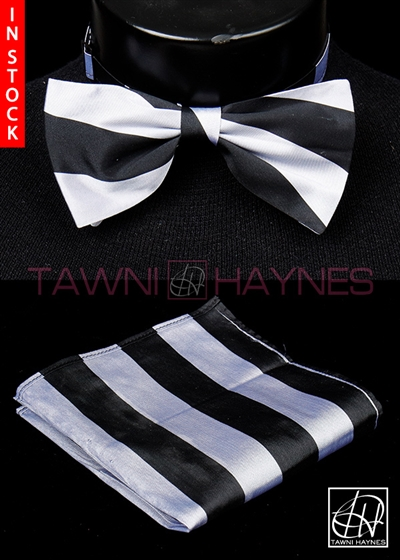 Tawni Haynes Silver Black Striped Poly Dupioni Bow Tie & Pocket Square