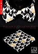 Tawni Haynes White Black Gold Teardrop Stretch Cotton Bow Tie & Pocket Square