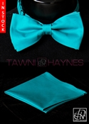 Tawni Haynes Teal Stretch Cotton Bow Tie & Pocket Square