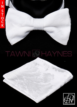 Tawni Haynes White Brocade Damask Bow Tie & Pocket Square