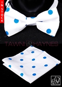 Tawni Haynes White Blue Polka Dot Poly Dupioni Bow Tie & Pocket Square