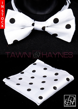 Tawni Haynes White Black Polka Dot Poly Dupioni Bow Tie & Pocket Square