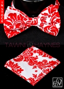 Tawni Haynes White w/ Red Damask Taffeta Bow Tie & Pocket Square