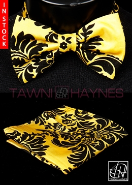 Tawni Haynes Yellow w/ Black Damask Taffeta Bow Tie & Pocket Square