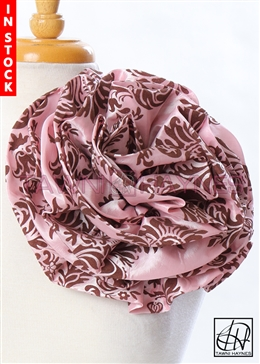 Tawni Haynes Circle Flower Pin (10 inch) - Pink/Brown Damask Taffeta