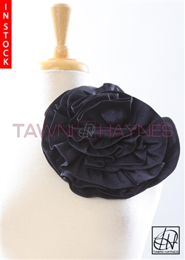 Tawni Haynes Circle Flower Pin (10 inch) - Navy Stretch Taffeta