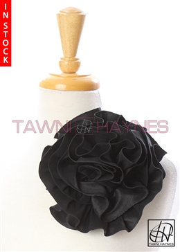 Tawni Haynes Circle Flower Pin (10 inch) - Black Poly Dupioni