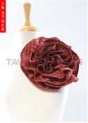 Tawni Haynes Circle Flower Pin (10 inch) - Red/Brown Dotted Brocade