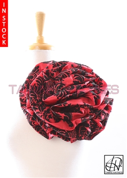 Tawni Haynes Circle Flower Pin (10 inch) - Red & Black Damask Taffeta