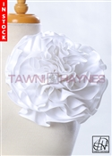 Tawni Haynes Circle Flower Pin (10 inch) - White Stretch Cotton