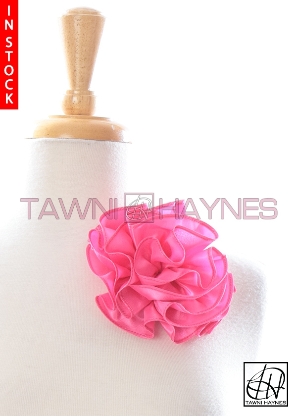 Circle flower pin 4 inch bubblegum pink poly dupioni mightylinksfo