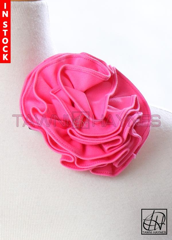 Circle flower pin 4 inch pink stretch cotton mightylinksfo