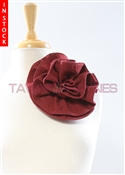 Tawni Haynes Circle Flower Pin (8 inch) - Burgundy Heavy Weight Knit Brocade