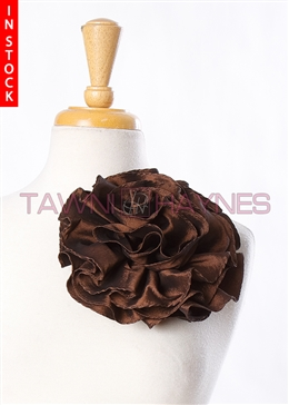 Tawni Haynes Circle Flower Pin (8 inch) - Brown Taffeta