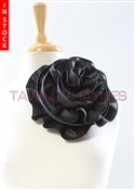 Tawni Haynes Circle Flower Pin (8 inch) - Black Vegan Leather