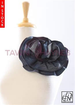 Tawni Haynes Circle Flower Pin (8 inch) - Denim & Wine Chevron