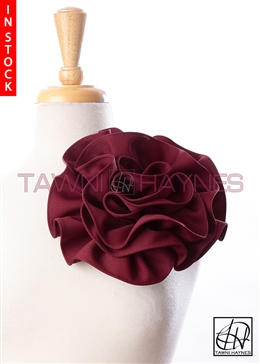 Tawni Haynes Circle Flower Pin (8 inch) - Deep Red Heavy Knit