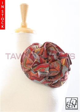 Tawni Haynes Circle Flower Pin (8 inch) - Geometric Multi-Print Knit