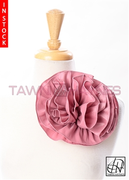 Tawni Haynes Circle Flower Pin (8 inch) - Mauve Stretch Taffeta