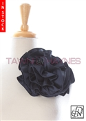 Tawni Haynes Circle Flower Pin (8 inch) - Navy Stretch Taffeta