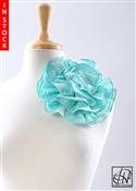Tawni Haynes Circle Flower Pin (8 inch) - Aquamarine Poly Dupioni