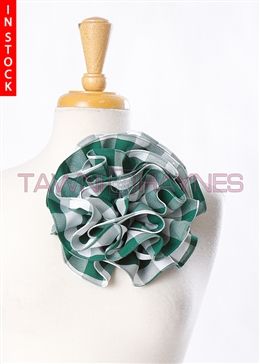 Tawni Haynes Circle Flower Pin (8 inch) - Green Checkered Poly Poplin