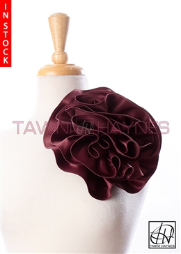 Tawni Haynes Circle Flower Pin (8 inch) - Burgundy Poly Satin