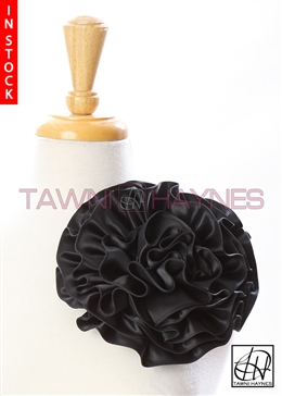 Tawni Haynes Circle Flower Pin (8 inch) - Black Poly Satin