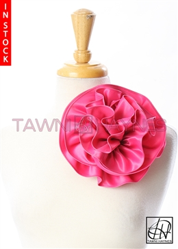 Tawni Haynes Circle Flower Pin (8 inch) - Fuchsia Poly Satin