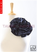 Tawni Haynes Circle Flower Pin (8 inch) - Navy Poly Satin