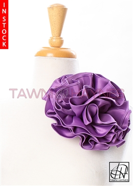 Tawni Haynes Circle Flower Pin (8 inch) - Wisteria Purple Poly Satin