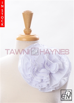 Tawni Haynes Circle Flower Pin (8 inch) - Pearl White Stretch Taffeta