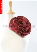 Tawni Haynes Circle Flower Pin (8 inch) - Red/Brown Dotted Brocade