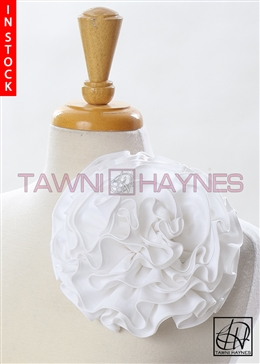 Tawni Haynes Circle Flower Pin (8 inch) - White Stretch Cotton