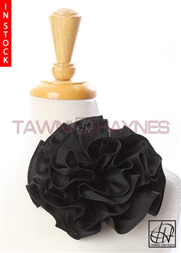 Tawni Haynes Circle Flower Pin (8 inch) - Black Stretch Taffeta